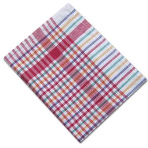 100% Cotton Colour Check Tea Towel - Multi Red - Pack of 10 - quick-cleaning-supplies