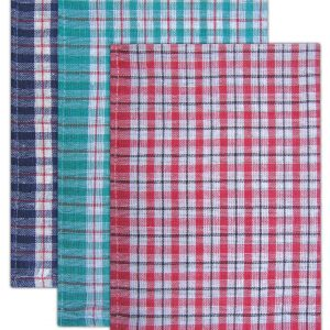 Economy Check Tea Towels - Assorted Colours - Pack of 10 - quick-cleaning-supplies