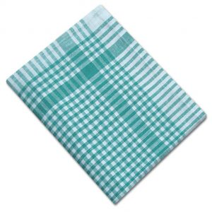 100% Cotton Colour Check Tea Towel - Green - Pack of 10 - quick-cleaning-supplies