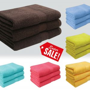 Deluxe 3 Piece 100% Supersoft Cotton Heavy Quality Bath Towels 580 Gsm - quick-cleaning-supplies