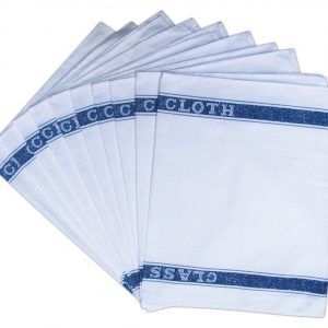Glass Cloth Tea Towel - White with Blue - Pack of 10 - quick-cleaning-supplies