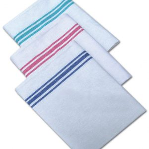 Cotton White With Coloured Stripe Tea Towel Pack of 10 - quick-cleaning-supplies