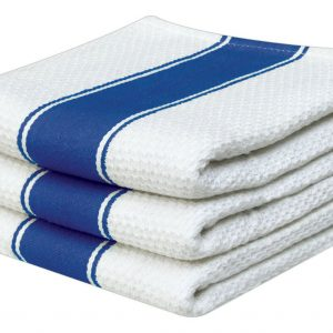100% Cotton Striped Waffle Tea Towels - Pack of 3 - quick-cleaning-supplies