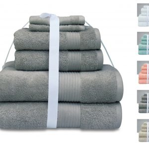 100% Combed Cotton Towel Set 600 GSM - Set of 6 - quick-cleaning-supplies